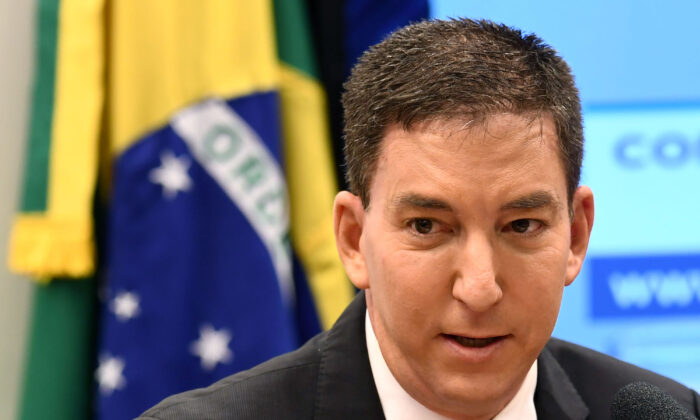 Glenn Greenwald, founder and editor of The Intercept website, gestures during a hearing at the Lower House's Human Rights Commission in Brasilia, Brazil, on June 25, 2019. (Evaristo Sa/AFP via Getty Images)