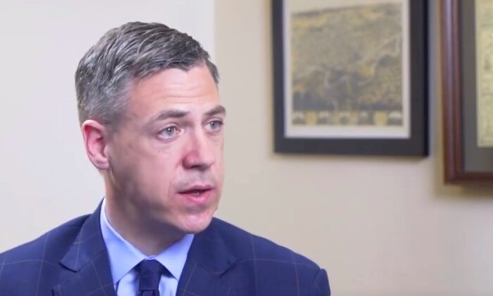 Rep. Jim Banks (R-Ind.) speaks to The Epoch Times in an interview in March 2019. (Video screenshot/The Epoch Times)