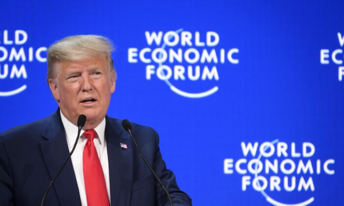 President Donald Trump delivers a speech at the Congres center during the World Economic Forum annual meeting in Davos, Switzerland, on Jan. 21, 2020. (Fabrice Coffrini/AFP via Getty Images)