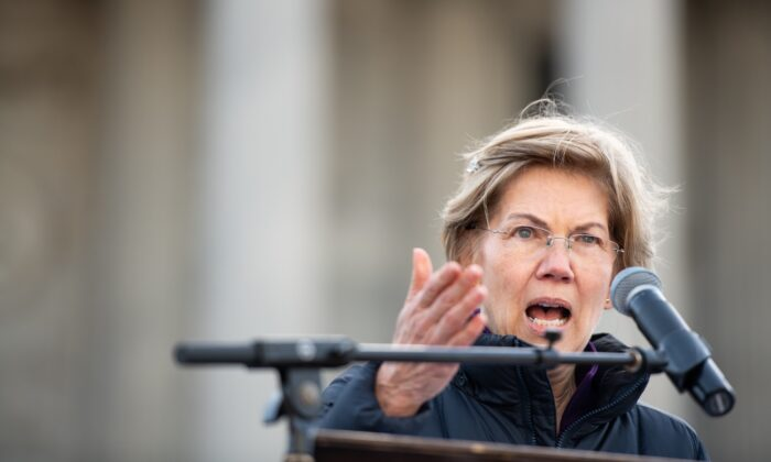 Democratic presidential candidate Sen. Elizabeth Warren (D-Mass.) speaks to the crowd during the King Day at the Dome rally in Columbia, S.C. on Jan. 20, 2020. (Sean Rayford/Getty Images)