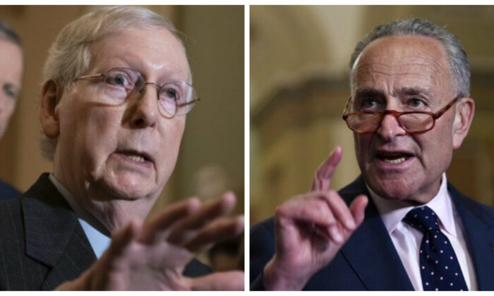 (L) Senate Minority Leader Mitch McConnell (R-Ky.) and (R) Senate Majority Leader Chuck Schumer (D-N.Y.). (J. Scott Applewhite/AP Photo; Win McNamee/Getty Images)