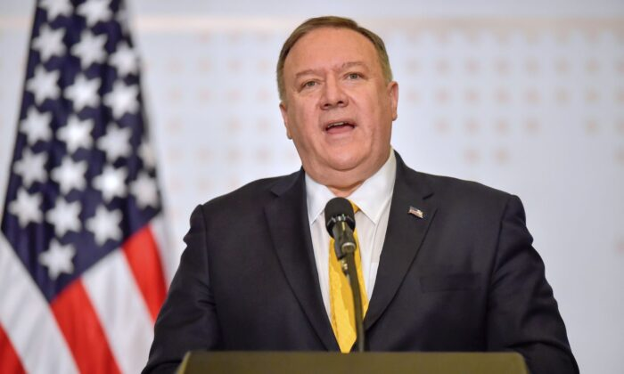 US Secretary of State Mike Pompeo speaks during the III Hemispheric Ministerial Conference of Fight Against Terrorism, in Bogota on Jan. 20, 2020. (Raul Arboleda/AFP via Getty Images)