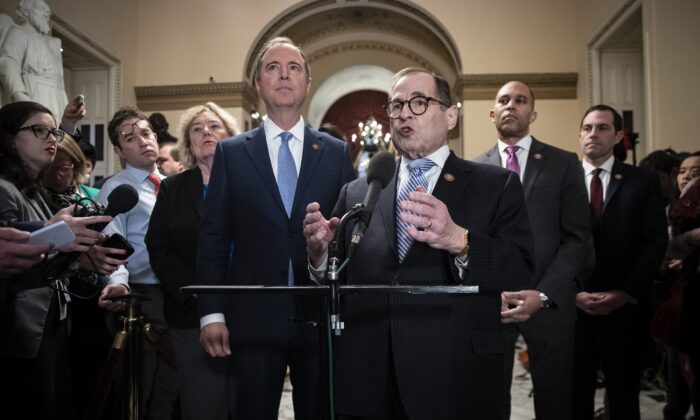 (L-R) House impeachment managers Rep. Zoe Lofgren (D-Calif.), Rep. Adam Schiff (D-Calif), Rep. Jerry Nadler (D-N.Y.), Rep. Hakeem Jeffries (D-N.Y.) and Rep. Jason Crow (D-Colo.) speak to reporters during a brief media availability before the start of the impeachment trial at the U.S. Capitol in Washington on Jan. 21, 2020. (Drew Angerer/Getty Images)