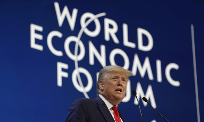 President Donald Trump addresses the World Economic Forum at the congress centre in Davos, on Jan. 21, 2020. (Evan Vucci/AP Photo)