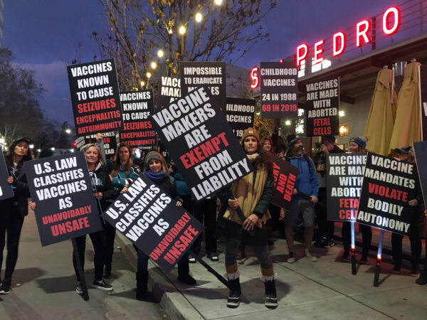Protesters rally against new laws regarding medical exemptions to vaccination in California, in San Pedro Square Market in San Jose, Calif., on Jan. 11, 2020. (Ilene Eng/The Epoch Times)