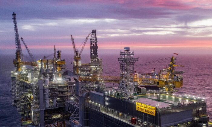 The field centre of the Johan Sverdrup oil field in the North Sea west of Stavanger, Norway, on Jan.7, 2020. (Carina Johansen /NTB Scanpix/AFP via Getty Images)