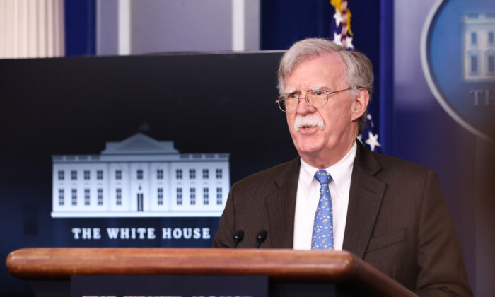 Then-national security adviser John Bolton speaks at a press briefing at the White House in Washington on Jan. 28, 2019. (Holly Kellum/NTD)