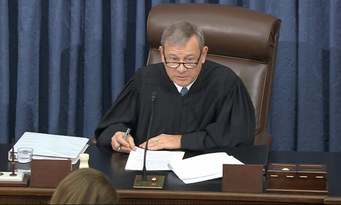 Supreme Court Chief Justice John Roberts speaks during the impeachment trial against President Donald Trump in the Senate at the U.S. Capitol in Washington on Jan. 21, 2020. (Senate Television via AP)