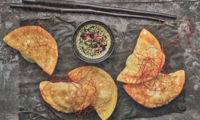 Fried mandu with chile-soy dipping sauce. (Jean Cazals)