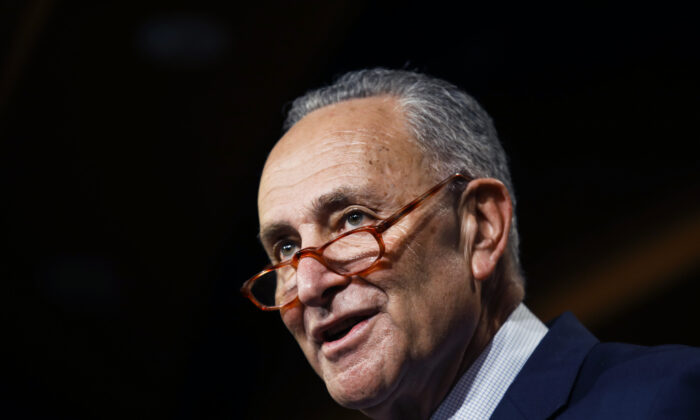 Senate Minority Leader Chuck Schumer (D-N.Y.) talks to reporters about the impeachment trial of President Donald Trump on charges of abuse of power and obstruction of Congress, at the Capitol in Washington on Jan. 16, 2020. (Matt Rourke/AP Photo)