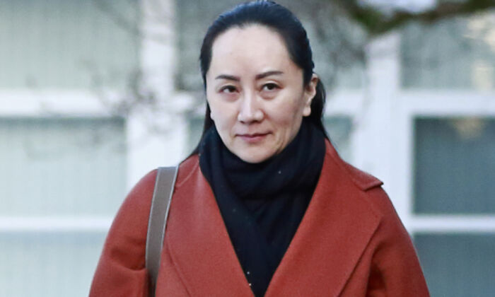Huawei executive Meng Wanzhou on her way to a court appearance in Vancouver on Jan. 17, 2020. (Jeff Vinnick/Getty Images)