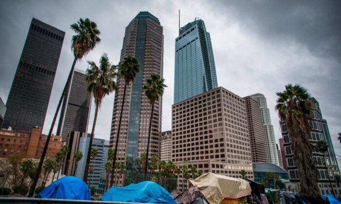 Homeless tents in downtown Los Angeles on Nov. 28, 2019. (Apu Gomes/AFP via Getty Images)