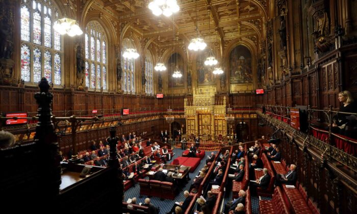 The interior of the House of Lords as the European Withdrawal Agreement Bill is debated in London on Jan. 21, 2020.  (Kirsty Wigglesworth/AFP via Getty Images)