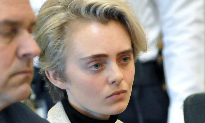 Michelle Carter sits in Taunton District Court for sentencing in Taunton, Mass., on Feb.11,2019. (Mark Stockwell/The Sun Chronicle via AP, Pool, File)