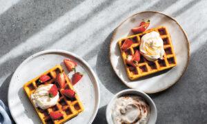 Pumpkin Spice Waffles With Maple Yogurt