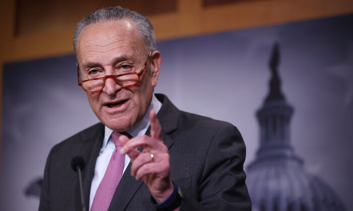 Senate Minority Leader Charles Schumer (D-N.Y.) calls on reporters during a news conference at the U.S. Capitol in Washington, on Jan. 22, 2020. (Chip Somodevilla/Getty Images)
