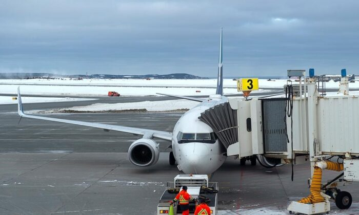 A Westjet aircraft prepares to depart the airport in St. John's on Jan. 22, 2020. (The Canadian Press/Andrew Vaughan)
