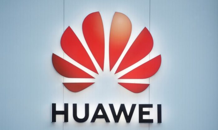 The logo of Huawei is seen in Davos, Switzerland on Jan. 22, 2020. (Arnd Wiegmann/Reuters)