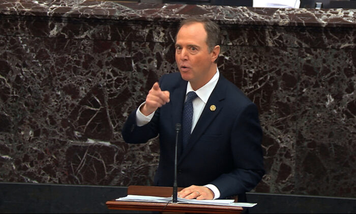 In this image from video, House impeachment manager Rep. Adam Schiff (D-Calif.) speaks during the impeachment trial against President Donald Trump in the Senate at the Capitol in Washington on Jan. 22, 2020. (Senate Television via AP)