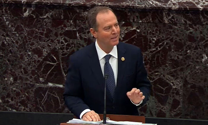 In this screengrab taken from a Senate Television webcast, House impeachment manager Adam Schiff (D-Calif.) speaks during impeachment proceedings against President Donald Trump in the Senate at the U.S. Capitol in Washington on Jan. 22, 2020. (Senate Television via Getty Images)