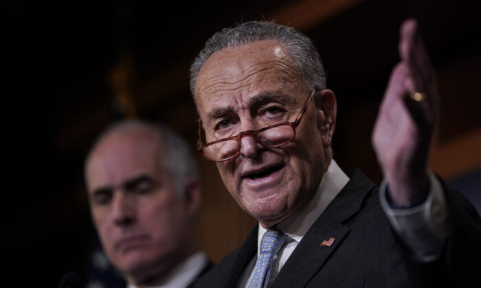 Senate Minority Leader Chuck Schumer (D-N.Y.) speaks at a press conference before the impeachment trial of President Donald Trump resumes at the U.S. Capitol in Washington on Jan. 23, 2020. (Drew Angerer/Getty Images)