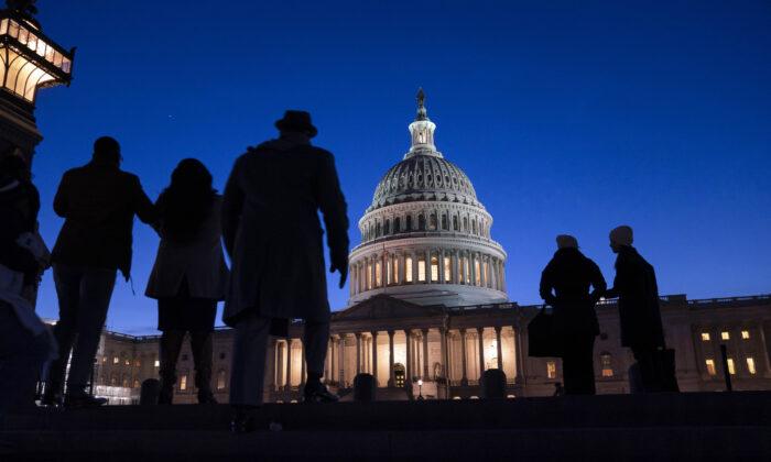 Night falls on the Capitol in Washington on Jan. 22, 2020. (J. Scott Applewhite/AP Photo)
