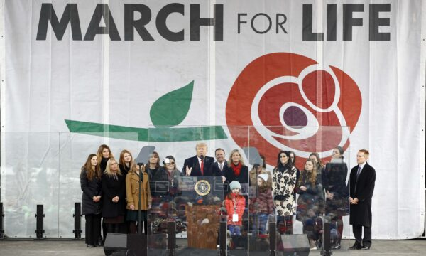 Trump speaks at a March for Life rally