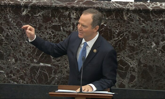 House impeachment manager Rep. Adam Schiff (D-Calif.) speaks during the impeachment trial against President Donald Trump in the Senate at the U.S. Capitol in Washington, on Jan. 23, 2020. (Senate Television via AP)