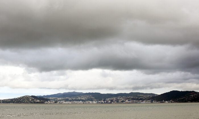 Dark clouds sit over Wellington City, New Zealand, on May 15, 2015.  Hagen Hopkins/Getty Images)