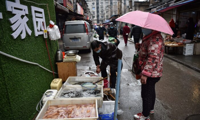 A masked vendor sells fish and turtles at a market in Wuhan, where the coronavirus was discovered, in China on Jan. 24, 2020. (Hector Retamal/AFP via Getty Images)