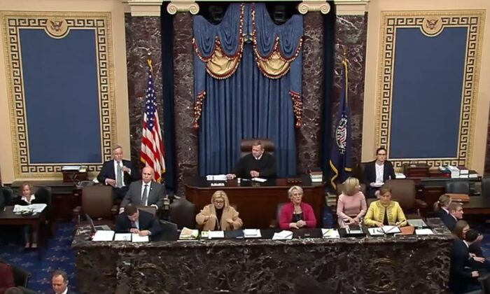 Footage shows the Senate in session during the impeachment trial of President Donald Trump on Friday, Jan. 24. (US Senate)