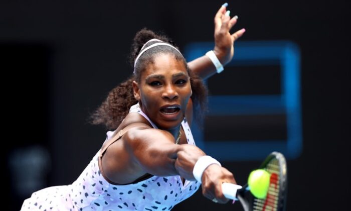 Serena Williams in action during the match against China's Qiang Wang at the 3rd round of the Australian Open, in Melbourne Park, Melbourne, Australia on Jan. 24, 2020. (Reuters/Kai Pfaffenbach)