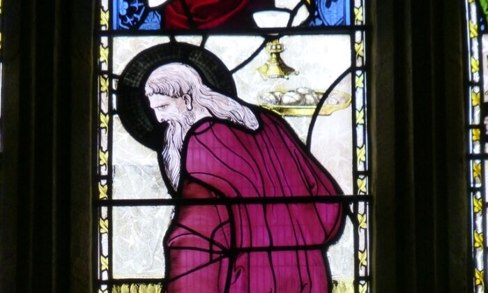 In the Church of St. John the Baptist, Yeovil, England, one stained glass window depicts the patron saint of woke with a black halo. (Public Domain)