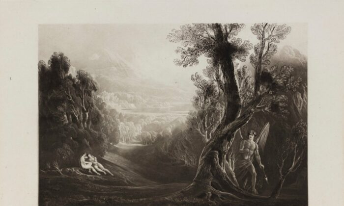 "Satan asks the first question in the Bible. ""Satan Observes Adam and Eve in the Garden of Eden,"" 1825, by John Martin in an illustrations for ""Paradise Lost."" (Public Domain)"