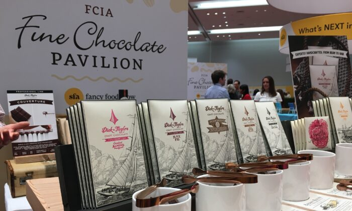 Dick Taylor craft chocolate at the chocolate pavilion at the Winter Fancy Food Show on Jan. 20, 2020. (Ilene Eng/The Epoch Times)