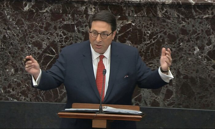 Personal attorney to President Donald Trump, Jay Sekulow, speaks during the impeachment trial against Trump in the Senate at the U.S. Capitol in Washington, on Jan. 25, 2020. (Senate Television via AP)