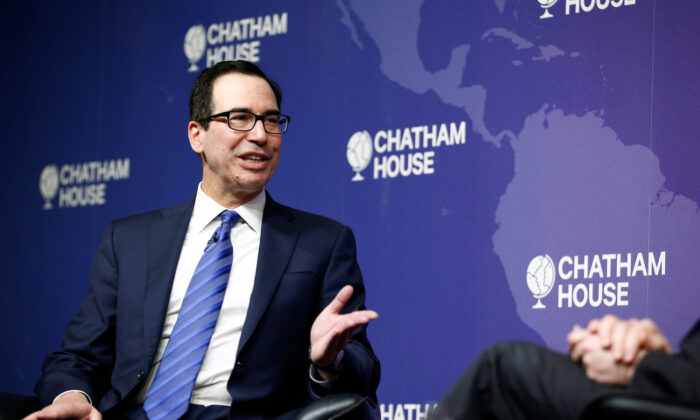 U.S. Treasury Secretary Steven Mnuchin speaks at Chatham House in London, UK, on Jan. 25, 2020. (Reuters/Henry Nicholls)