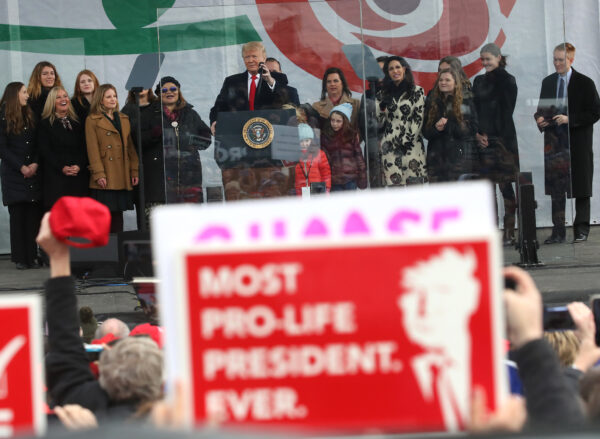 Trump speaks at the 47th March For Life rally