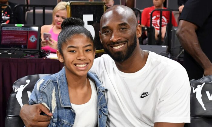 Gianna Bryant and her father, former NBA player Kobe Bryant, attend the WNBA All-Star Game 2019 at the Mandalay Bay Events Center on July 27, 2019. (Ethan Miller/Getty Images)