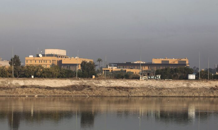 A general view shows the U.S. embassy across the Tigris river in Iraq's capital Baghdad on Jan. 3, 2020.  (AHMAD AL-RUBAYE/AFP via Getty Images)