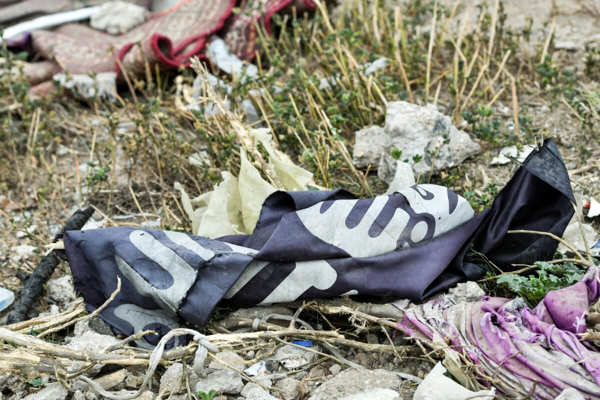 A discarded ISIS flag