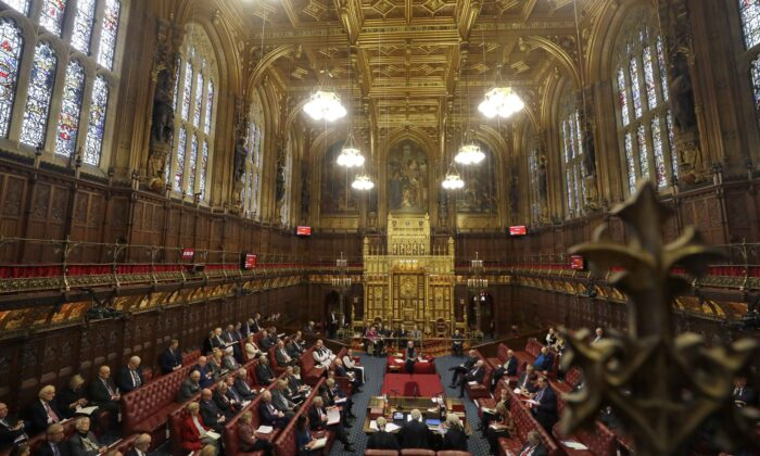 A general view inside the House of Lords as the European Withdrawal Agreement Bill is debated at House of Lords in London, England, on Jan. 21, 2020. (Kirsty Wigglesworth/Getty Images)