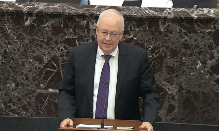Ken Starr, an attorney for President Donald Trump, speaks during the impeachment trial against Trump in the Senate at the U.S. Capitol in Washington, on Jan. 27, 2020. (Senate Television via AP)