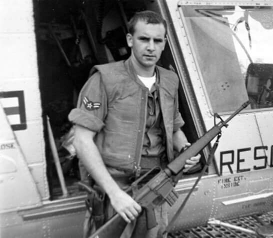 Vietnam soldier stepping out of helicopter