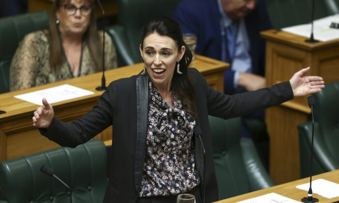 New Zealand's Prime Minister Jacinda Ardern speaks in the house during the third reading of the The Zero Carbon bill at Parliament in Wellington, New Zealand, on Nov. 7, 2019. (Hagen Hopkins/Getty Images)