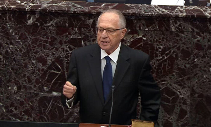 Legal Counsel for President Donald Trump, Alan Dershowitz speaks during impeachment proceedings against U.S. President Donald Trump in the Senate at the U.S. Capitol in Washington on Jan. 27, 2020. (Senate Television via Getty Images)