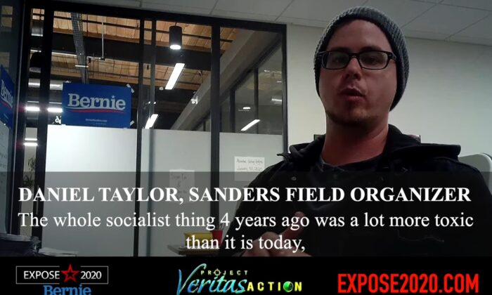 Daniel Taylor, a field organizer for the campaign of Sen. Bernie Sanders (I-Vt.) was caught on hidden camera by Project Veritas Action. (Screenshot via Youtube/Project Veritas Action)