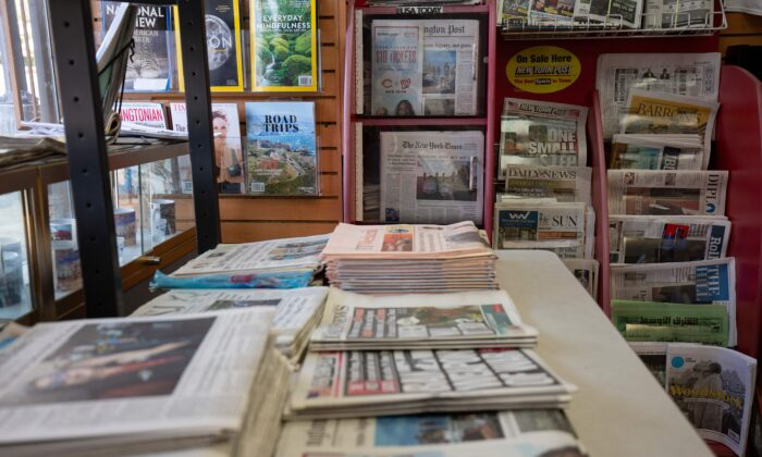 Newspapers and magazines at a convenience store in Washington, DC, on Aug. 6, 2019. (Alastair Pike/AFP via Getty Images)