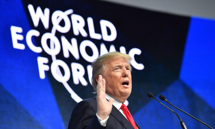 President Donald Trump delivers a speech during the World Economic Forum (WEF) annual meeting in Davos, Switzerland, on Jan. 26, 2018.  Nicholas Kamm/AFP via Getty Images