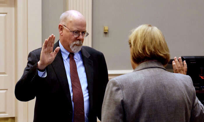 John Durham, left, is sworn in as the U.S. Attorney for the District of Connecticut by Chief U.S. District Judge Janet C. Hall in New Haven, Conn., on Feb. 22, 2018. (Courtesy of the U.S. Attorney's Office for the District of Connecticut)
